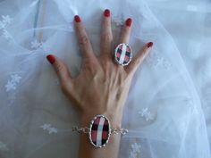 Villeroy&Boch fajansz karkötő és gyűrű pottery bracelet and ring - soldered