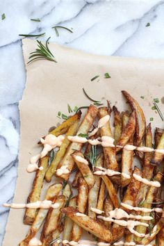 Oven baked potato fries with herbed sea salt//