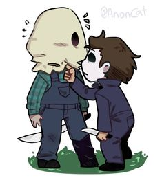 Jason and Michael by Jason Voorhees, Horror Icons, Horror Films, Horror Art, Scary Movie Characters, Scary Movies, Michael Myers And Jason, Jason Friday, Jason X