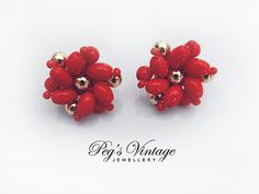 Vintage Coral Red Glass Cluster Bead by PegsVintageShop on Etsy