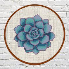 Succulent cross stitch pattern cactus cross stitch by Fuzzy36