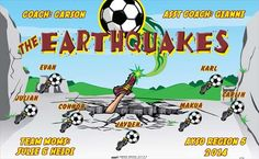 Earthquakes-41704 digitally printed vinyl soccer sports team banner. Made in the USA and shipped fast by BannersUSA. www.bannersusa.com