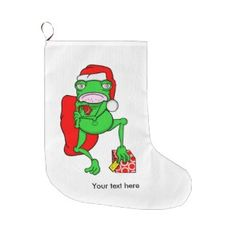 Funny Frog Wearing A Red Santa Claus Hat Large Christmas Stocking