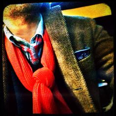 ME, today: Classic knit tie style with herringbone tweed.