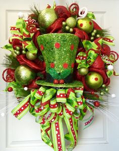 Light up Hat Christmas Wreath Mesh Wreath by WilliamsFloral