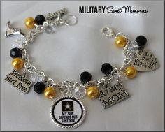 Military Mom, Proud Army Mom, Army Mom Bracelet, I love my soldier  ARMY MOM My Son defends our freedom by MilitarySweetMemorie, $23.00