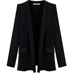 Black Ladies Candy Color Plus Size Blazer ($31) ❤ liked on Polyvore featuring outerwear, jackets, blazers, black, april hammerstein, plus size blazers, plus size blazer jacket, blazer jacket, plus size jackets and womens plus size blazers