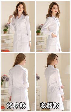 9ec8b5ef6 R$ 78.86 18% de desconto|Versão coreana do longa sleeved médico enfermeira  roupas esteticista experimental Fino casaco branco AL105 em Uniforme da ...
