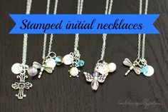 Metal stamped initial necklaces with cute charms DIY by Southern Scraps. I think these would be terrific as part of a bridesmaid gift!