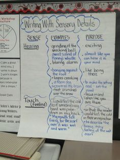 Sensory details in writing Writing Traits, Writing Strategies, Narrative Writing, Writing Lessons, Teaching Writing, In Writing, Writing Resources, Writing Ideas, Teaching Ideas