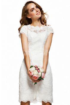 Natural Waist Lace Zipper Crystals Column Bateau Knee Length Bridesmaid Dress