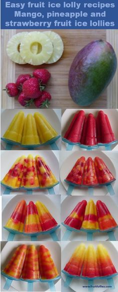 Healthy eating for children. Homemade ice lollies made with 100% fruit, no other ingredients added. Lovely bright colours created by simply using fruit.The ice lollies in this pin are all made using the same fruit recipes. #HealthyTreats