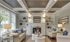 Great photo of coffered ceiling and fireplace  detail Greensboro Interior Design - Window Treatments Greensboro - Custom ...