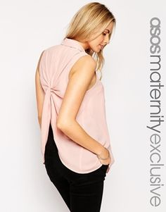 ASOS Maternity Blouse With Knot Back Detail