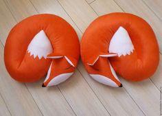 Купить Подушка декоративная - Спящая лисичка. - оранжевый, мягкий, детская, подушка на диван, подарок