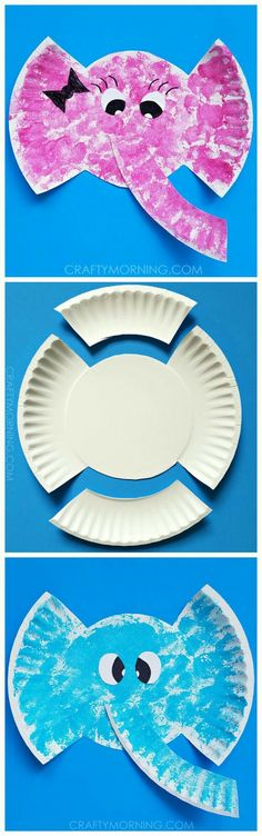 Supplies Needed: Paper plate Scissors Glue White paper Black sharpie Paint/sponge Start by cutting the above design. Sponge paint it with blue or pink and let d