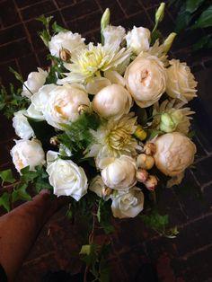 Dahlias, lisianthus, David Austin roses and silver suede foliage. Brides posy.