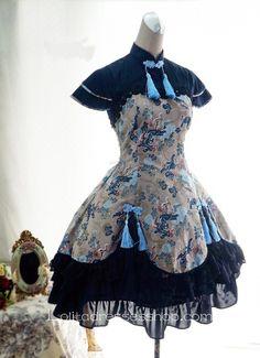 Cheap Lolita Cotton Chinese Style Print Fold Tassel Flounced Stand Collar Feifei Sleeve Dress Sale At Lolita Dresses Online Shop