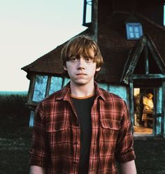 Ron Weasley outside of the burrow