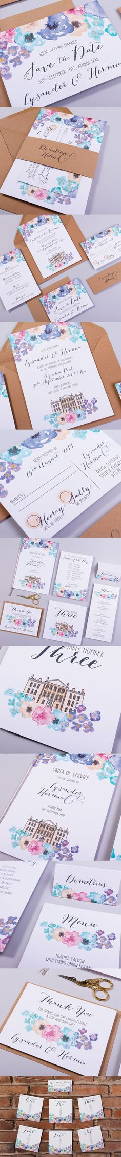 MIDSUMMER, with a romantic and whimsical theme this pretty invitation collection will feature bespoke imagery of your very own wedding venue peaking through the featured watercolour flowers, which will surely impress your guests.