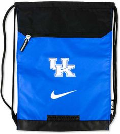 Store your workout gear easily with this stylish and handy Nike Kentucky Wildcats Training Gym bag. The sack features convenient adjustable straps and an extra zippered area to separate wet and dry clothes. Adjustable shoulder straps Drawstring closure Screen print team logo and Nike swoosh logo at front Exterior zippered pocket Water-resistant bottom Measures 14 inches by 19-1/2 inches Polyester Spot clean