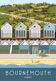 For sale on Etsy from Bournemouth Beach Holiday Lodges sit only a few feet from the beach with a wonderful view over the sea. This is one print Bournemouth England, Bournemouth Beach, Ways To Travel, New Travel, Travel Tips, Fiji Beach, Farm Holidays, Art Deco, Holiday Images