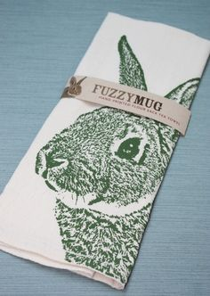 Fuzzy Bunny in Moss  Hand Printed Flour Sack Tea Towel by FuzzyMug, $15.00