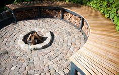 Fireplace In Garden Outdoor Spaces, Outdoor Living, Outdoor Decor, Small Gardens, Outdoor Gardens, Landscape Design, Garden Design, Fireplace Garden, Fireplace Outdoor