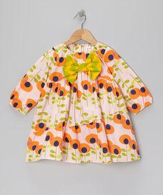 Orange Floral Bow Dress
