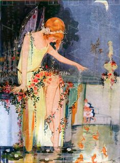 STUNNING POND Fairy & Golden Fishes. Water Sprite Vintage | Etsy