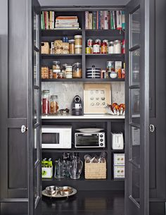 Read This Before You Put in a Pantry - This Old House Pantry Shelving, Pantry Storage, Pantry Organization, Kitchen Storage, Pantry Ideas, Open Shelves, Smart Storage, Organized Pantry, Black Shelves
