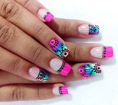 La Universidad de la Manicura: El arte de dibujar mandalas... en tus uñas French Nail Designs, Creative Nail Designs, Cute Nail Designs, Creative Nails, Cute Nails, Pretty Nails, Hollywood Nails, Natural Acrylic Nails, Mandala Nails