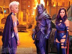 Ororo Munroe/Storm (Alexandra Shipp), En Sabah Nur/Apocalypse (Oscar Isaac), and Betsy Braddock/Psylocke (Olivia Munn) - 'X-Men - Apocalypse'