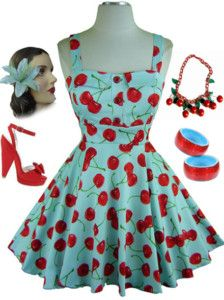 Apron inspiration. 1950's cut / buttons / cherry print. Love the red & robin's egg blue combo.