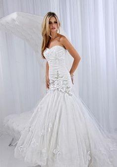 Unique Sweetheart Tulle Mermaid Dropped Court Train Bridal Dresses - 1300251024B - US$244.79 - BellasDress