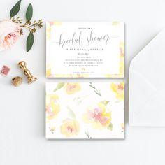 Bridal Shower Invitation, Lemon Watercolour Flowers, Yellow and Pink Floral Bridal Shower, Elegant Bridal Shower Invite, Printable, Custom by penpenpaper on Etsy