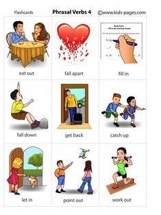 Kids Pages - Phrasal Verbs 4 English Prepositions, English Phonics, Teaching English Grammar, English Writing Skills, English Idioms, English Language Learning, English Phrases, English Vocabulary, Teaching Spanish