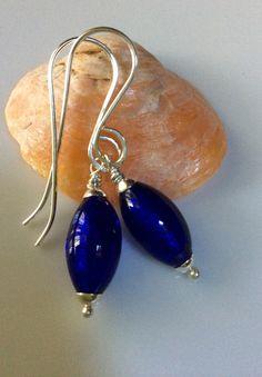 Cobalt Blue Glass Earrings / Venetian Glass by LadonnaStudio