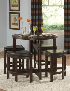 Brussel II Warm Brown Cherry Wood 5pc Counter Height Set