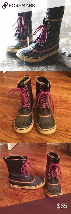 Sorel winter boots Sorel winter boots. Black with orange border around top and pink/purple laces. SOLD AT FREE PEOPLE. Love these boots but they run a little big. Wore them only a few times. Sorel Shoes Winter & Rain Boots