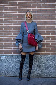On the street at Milan Fashion Week. Photo: Chiara Marina