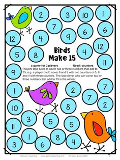This is an addition game where children find 2 or 3 numbers that add to 15. The free Games 4 Learning Club gives you 50 Free math games when you join then regular freebies for math and more! These include games for place value, addition, subtraction, multiplication, division, rounding numbers, counting, odd and even, prime and composite, factors, multiples and more! There are also seasonal games. Great for kindergarten, first, second, third, fourth and fifth grades. Printable Math Games, Free Math Games, Math Board Games, Fun Math, Math Activities, Math Class, Math Education, Math Worksheets, Math Fractions