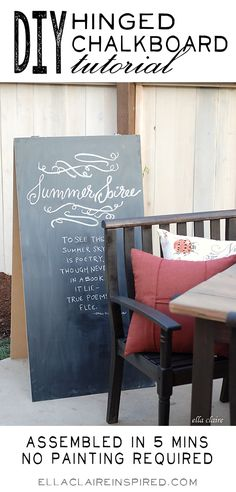 DIY Hinged Chalkboard~ No painting, No cutting, Assembled in Under 5 Mins!