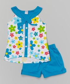 Look what I found on Turquoise Bow Yoke Tank & Shorts - Toddler & Girls by Littoe Potatoes Cute Little Girls Outfits, Boy Outfits, Fancy Dress Design, Baby Dress Patterns, American Girl Clothes, Little Girl Dresses, Baby Sewing, My Baby Girl, Kids Wear
