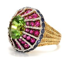 All Our Jewelry Stunning Buccellati ct Peridot Sapphire Ruby Ring via Three Graces Antique Jewelry, Vintage Jewelry, Edwardian Jewelry, Jewelry Rings, Fine Jewelry, Jewelry Box, Antique Engagement Rings, Beautiful Rings, Bracelets