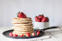 """We woke up to a skiff of snow covering the ground….again this morning. So I decided it was a good day to play in the kitchen! I found this recipefor Buttermilk Pancakesin """"The America's Test Kitchen Family Cookbook"""" and gave it a try. We don't care for Bisquick or any boxed pancake mixes and I'm …"""