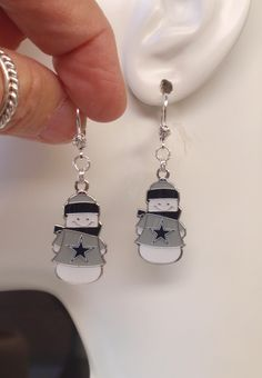 Dallas Cowboys Earrings, Cowboys Jewelry, Snowman Charm Clear Crystal Leverback Earrings, Pro Football Cowboys Bling Accessory Fanwear by scbeachbling on Etsy