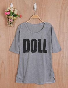 Casual Style Scoop Neck Loose-Fitting Letter Printed Short Sleeve Cotton Women's T-Shirt (GRAY,ONE SIZE), Women's Tees & T-shirts - fashiondresswholesale.com