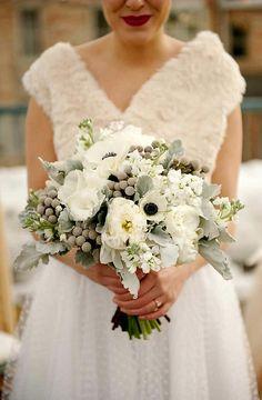 Winter Wedding Bouquet: White Anemones, White Garden Roses, White Lisianthus, White Stock, Silver Brunia, Dusty Miller >>>>