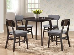 AmazonSmile - Baxton Studio 5 Piece Debbie Mid-Century Dining Set, Dark Brown - Table & Chair Sets